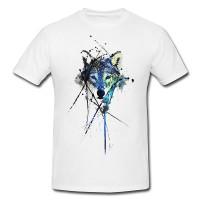 Wolf Premium Herren und Damen T-Shirt Motiv aus Paul Sinus Aquarell
