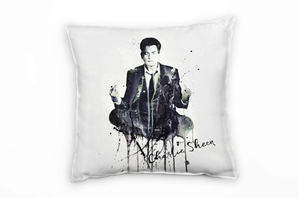 Charlie Sheen Deko Kissen Bezug 40x40cm für Couch Sofa Lounge Zierkissen