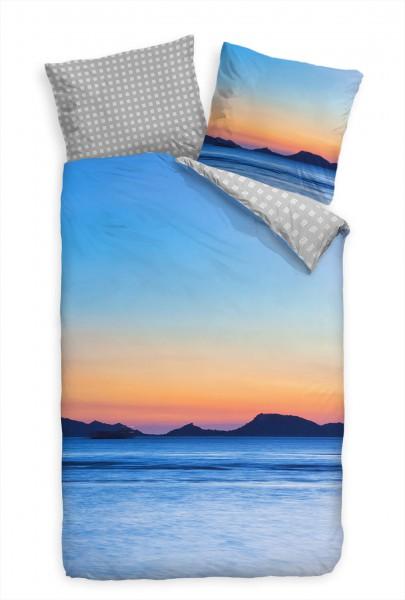 Sonnenuntergang Meer Insel Bettwäsche Set 135x200 cm + 80x80cm Atmungsaktiv