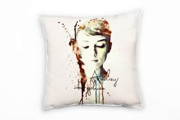 Audrey Hepburn II Deko Kissen Bezug 40x40cm für Couch Sofa Lounge Zierkissen