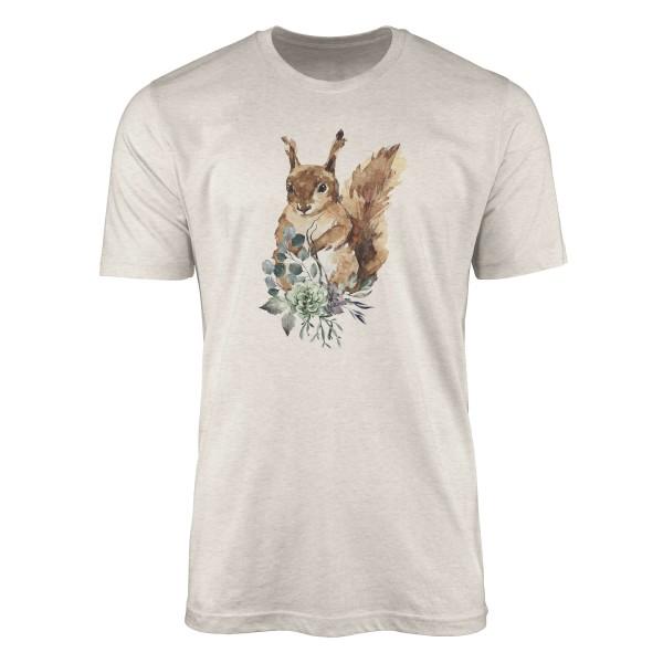 Herren Shirt 100% gekämmte Bio-Baumwolle T-Shirt Aquarell Eichhörnchen Motiv Nachhaltig Ökomode aus