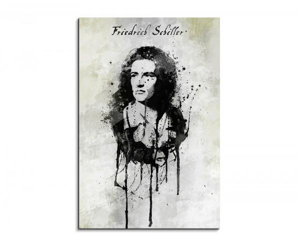 Friedrich Schiller 90x60cm Aquarell Art Wandbild auf Leinwand fertig gerahmt Original Sinus Art