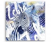 Zebra in der Herde mit Kalligraphie