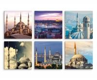 6 teiliges Leinwandbild je 30x30cm -  Istanbul Moschee Stadt Nacht