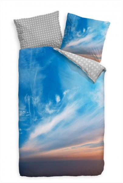 Himmel Hintergrund Sonnenuntergang Blau Bettwäsche Set 135x200 cm + 80x80cm Atmungsaktiv