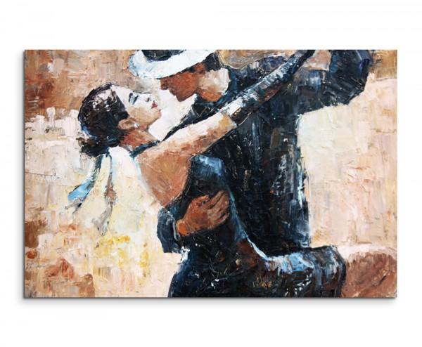 Wandbild Digitales Gemälde Tangotänzer mit weißem Hintergrund auf Leinwand