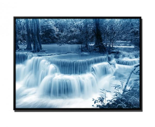 105x75cm Leinwandbild Petrol Huay Mae Khamin Wasserfall Thailand