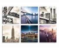 6 teiliges Leinwandbild je 30x30cm -  New York Wolkenkratzer Skyline