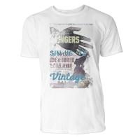 5 Fingers  Herren T-Shirts in Karibik blau Cooles Fun Shirt mit tollen Aufdruck