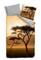 Sonnenuntergang Afrika Savanne Braun Bettwäsche Set 135x200 cm + 80x80cm  Atmungsaktiv