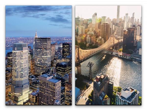 2 Bilder je 60x90cm New York Wolkenkratzer Manhattan Skyline Stadt Metropole Brücke