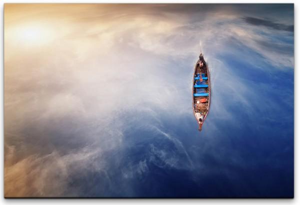 Ruderboot im Wasser Wandbild in verschiedenen Größen