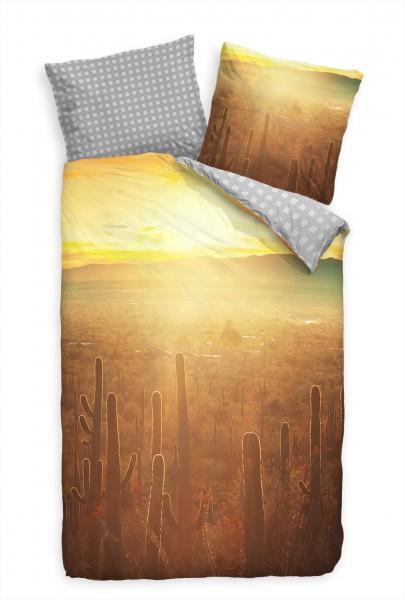 Wste Morgengrauen Kakteen Bettwäsche Set 135x200 cm + 80x80cm Atmungsaktiv
