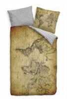 Weltkarte Antik Braun Bettwäsche Set 135x200 cm + 80x80cm  Atmungsaktiv