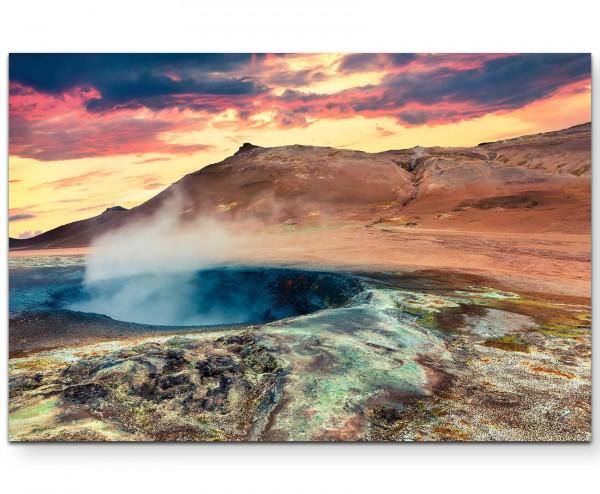 Sonniger Morgen – Geothermale Landschaft - Leinwandbild