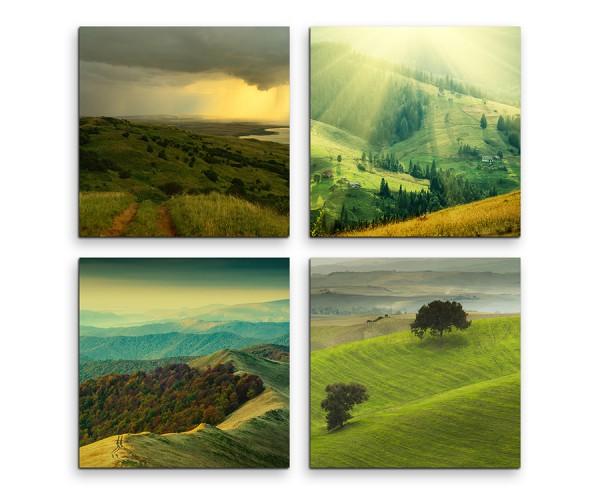 4 teiliges Leinwandbild je 30x30cm - Landschaft Gebirge Natur Wiese Sonne