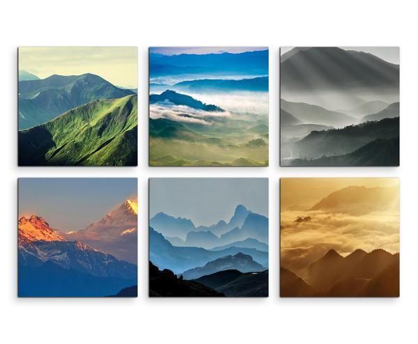 6 teiliges Leinwandbild je 30x30cm - Gebirge Sonnenuntergang Natur Landschaft