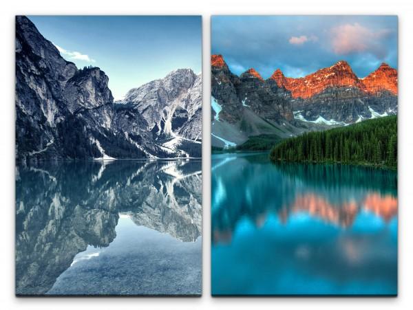 2 Bilder je 60x90cm Berge Klares Wasser Bergsee Tannenwald Natur Norden Erholsam