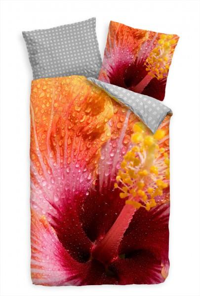 Hibiskus Gelb Orange Blte Bettwäsche Set 135x200 cm + 80x80cm Atmungsaktiv