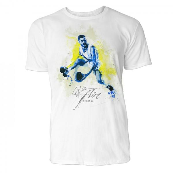 Basketballer beim Dribbeln Sinus Art ® T-Shirt Crewneck Tee with Frontartwork