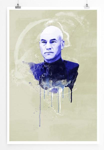 Captain Picard 90x60cm Paul Sinus Art Splash Art Wandbild als Poster ohne Rahmen gerollt