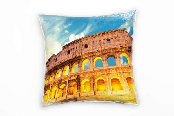 Urban Orange Blau Kolosseum Rom Deko Kissen 40x40cm Fur Couch