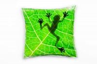 Tiere, grün, schwarz, Frosch auf einem Blatt von unten Deko Kissen 40x40cm für Couch Sofa Lounge Zie