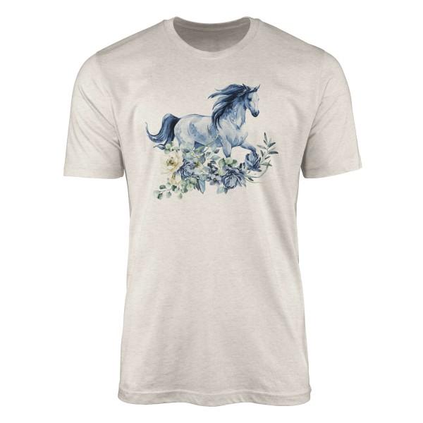 Herren Shirt 100% gekämmte Bio-Baumwolle T-Shirt Aquarell Blumen Pferd Motiv Nachhaltig Ökomode aus