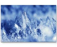Fotografie – Eiskristalle in Blautönen - Leinwandbild
