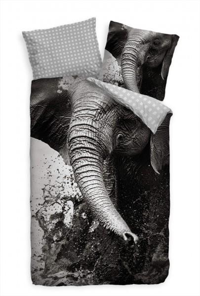 Elefant Wasser Spritzer Nahaufnahme Grau Bettwäsche Set 135x200 cm + 80x80cm Atmungsaktiv
