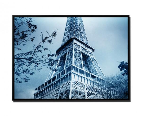 105x75cm Leinwandbild Petrol Eiffelturm Paris