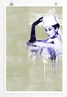 Audrey Hepburn II 90x60cm Paul Sinus Art Splash Art Wandbild als Poster ohne Rahmen gerollt