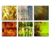 6 teiliges Leinwandbild je 30x30cm -  Abstrakt Muster Mehrfarbig Expressiv Kunst