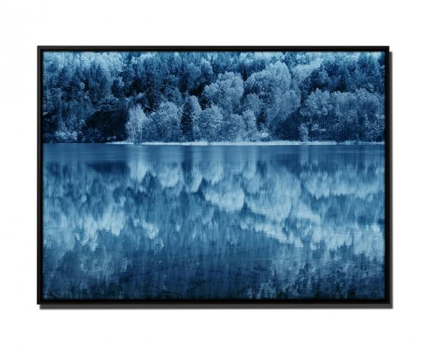 105x75cm Leinwandbild Petrol Jiuzhaigou Valley Wasserspiegelung China