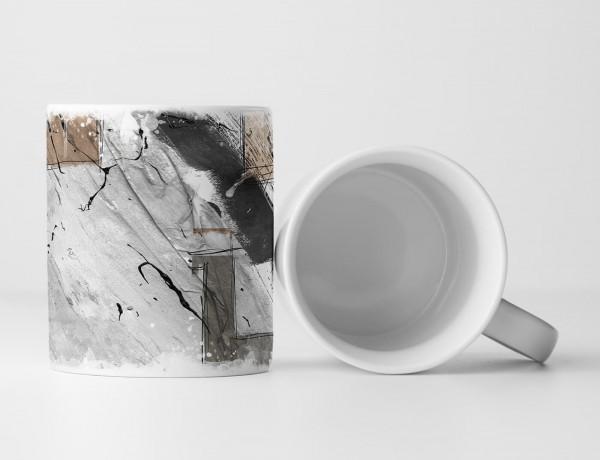 Tasse Geschenk grau, schwarze Abstraktion, sandbraunen Ecken