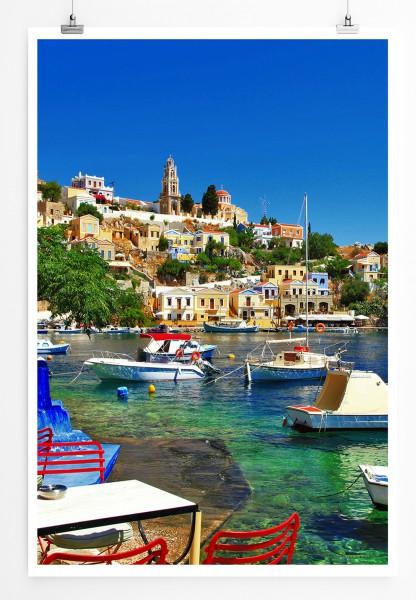 90x60cm Poster  Küste von Halki Griechenland