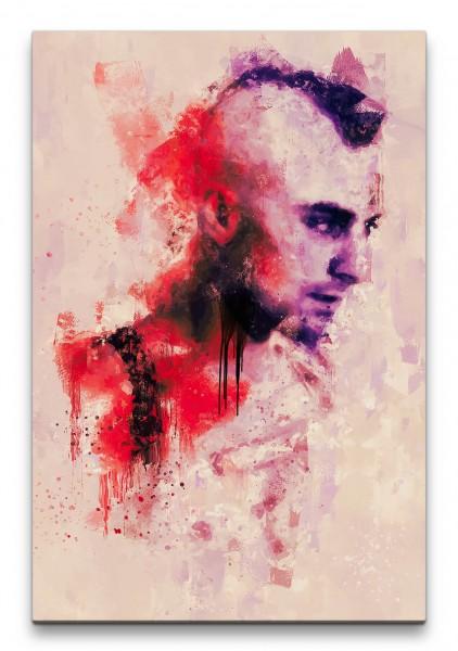 Robert De Niro Taxi Driver Porträt Abstrakt Kunst Kultfilm rote Farbe 60x90cm Leinwandbild