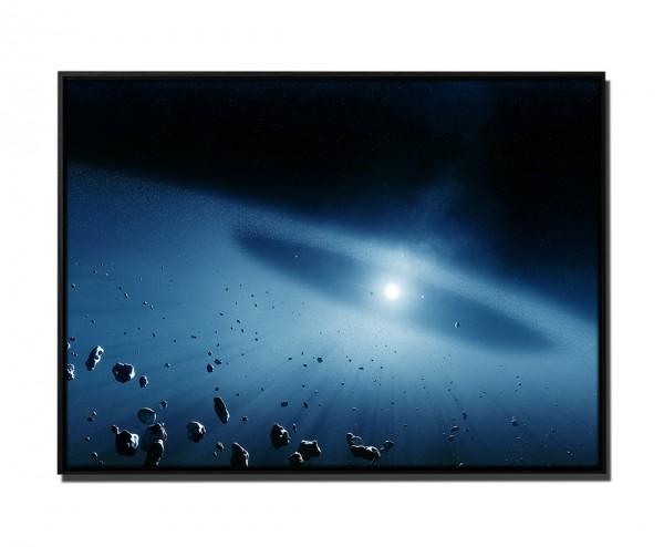 105x75cm Leinwandbild Petrol Weltall Asteroid