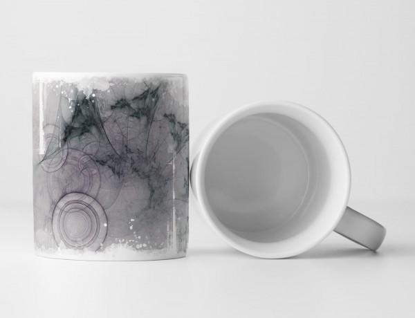 Tasse Geschenk Kreisformen + violett + graphitgrau