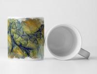 Tasse Geschenk Saphirblaues Muster + Blau-gelbtöne