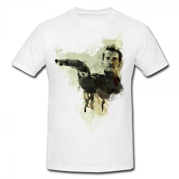 Arnold Schwarzenegger Premium Motiv aus Paul Sinus Aquarell - Herren und Damen Shirt weiss