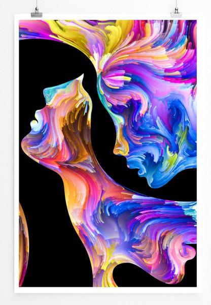 Künstlerisches Bild von bunten Profilen 60x90cm Poster