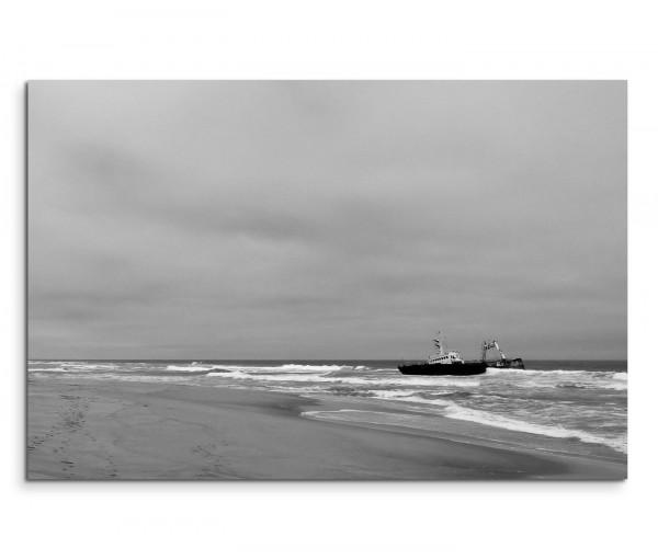 120x80cm Wandbild Holzsteg Meer Segelyacht Himmel