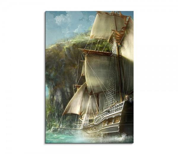 Medieval Ship Entering Fantasy Art 90x60cm