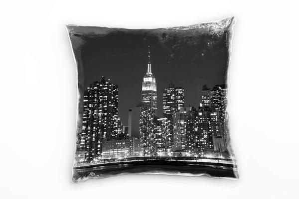 Urban Und City Schwarz Weiss New York Nacht Deko Kissen 40x40cm