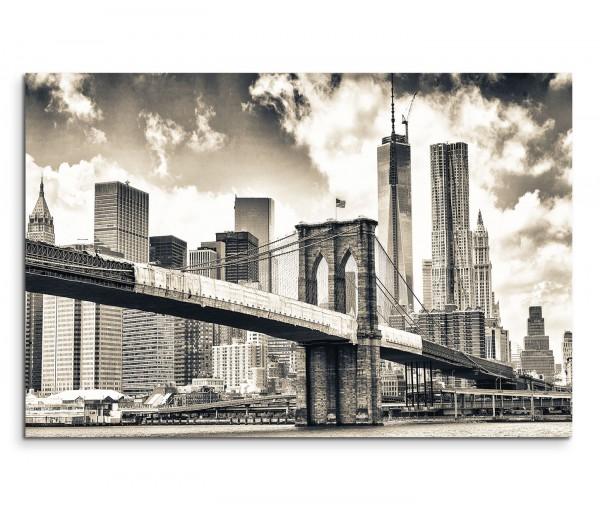 120x80cm Wandbild Brooklyn Bridge Manhattan Wolkenkratzer Wolken