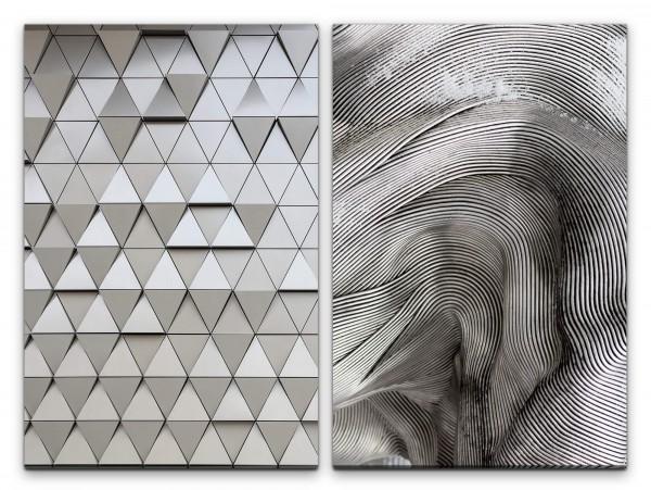 2 Bilder je 60x90cm Abstrakt Schwarz Weiß Struktur Dreiecke Fassade Linien Modern