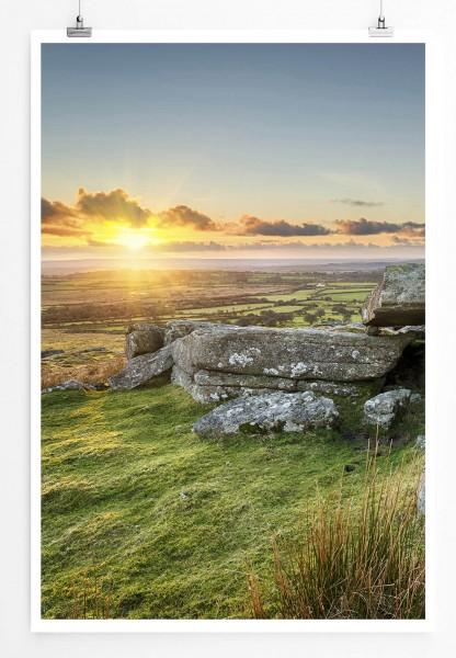Landschaftsfotografie 60x90cm Poster  Sonnenaufgang am Bodmin Moor Cornwall UK