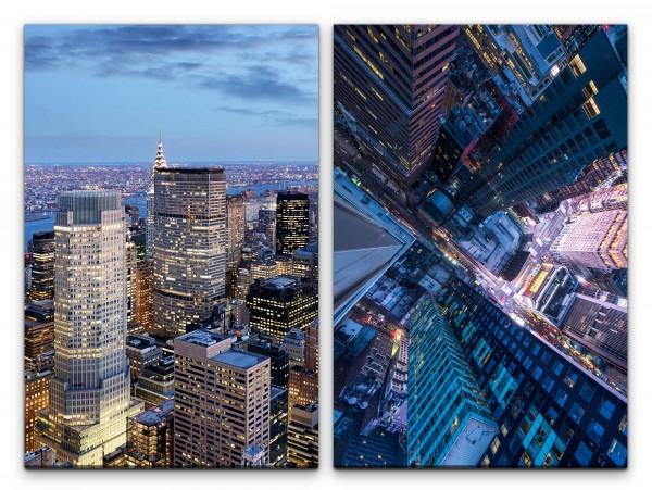 2 Bilder je 60x90cm New York Wolkenkratzer Manhattan Vogelperspektive Hochhäuser Großstadt Stadtlich