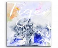 Ruhender Tiger in Grautönen mit Kalligraphie